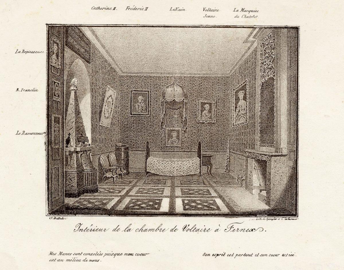 Intérieur de la chambre de Voltaire à Ferney