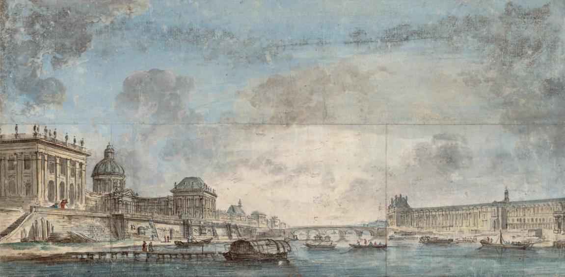 Jean-Baptiste Lallemand, 'Collège des Quatre-nations et la galerie du Louvre (dix-huitième siècle)'