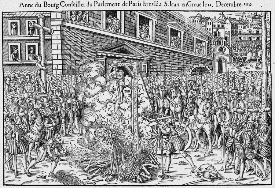 The execution of Anne Du Bourg at the Place de Grève