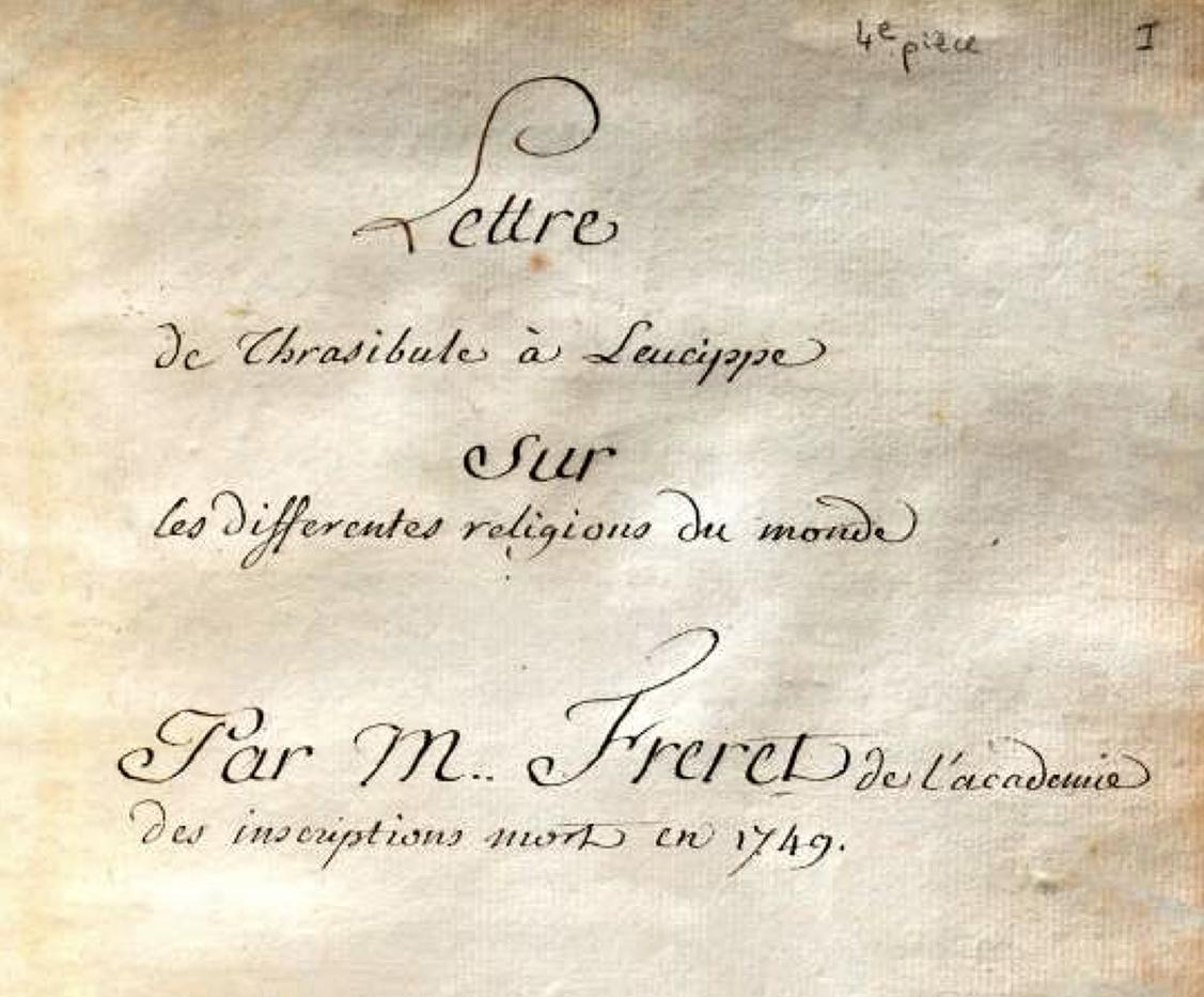 Nicolas Fréret, Lettre de Thrasybule à Leucippe