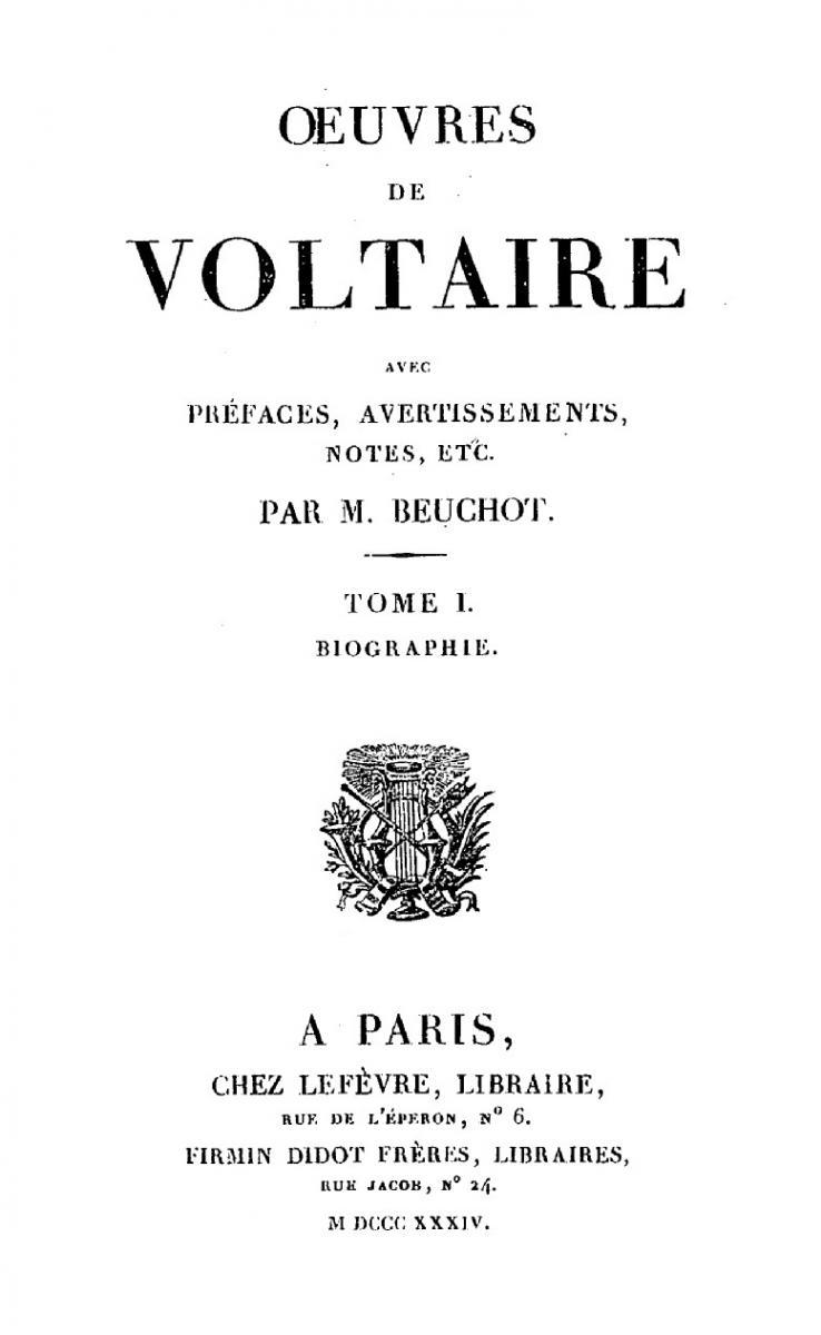 Œuvres de Voltaire, Beuchot (éd.)