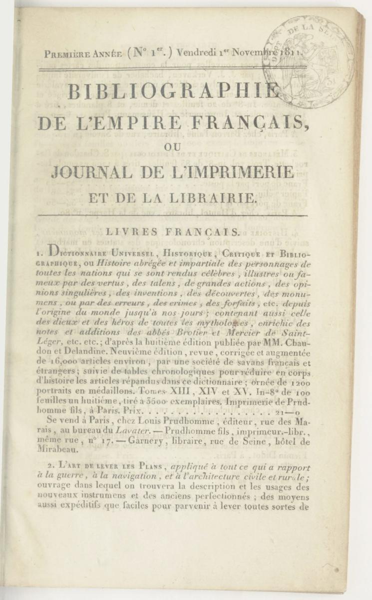 Bibliographie de l'Empire français ou Journal de l'imprimerie et de la Librairie