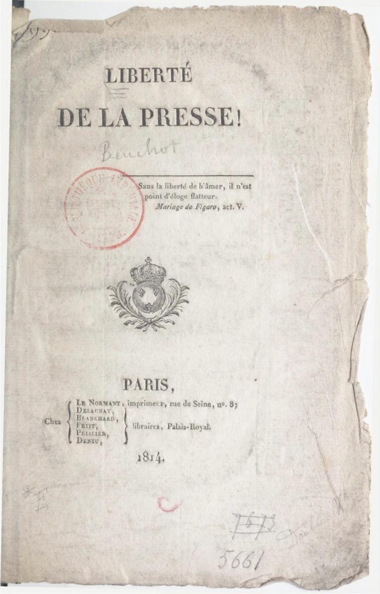 Beuchot, Liberté de la Presse