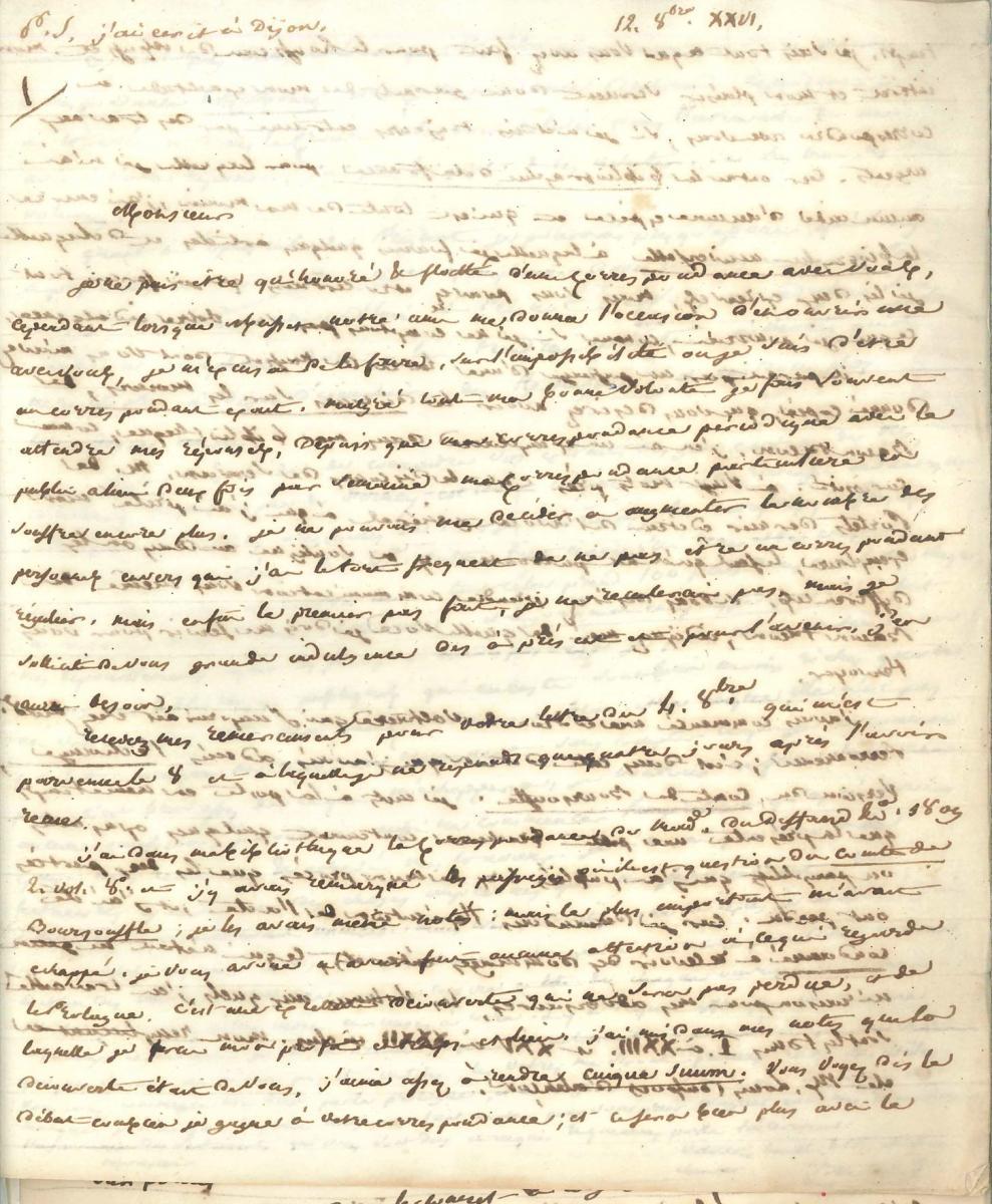 Lettre de Beuchot à Joachim de Cayrol