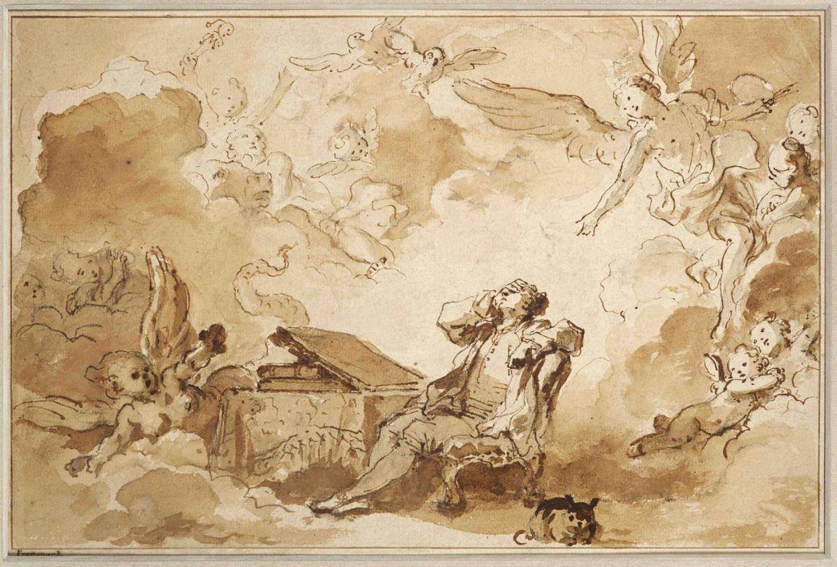 L'inspiration de l'artiste by Jean-Honoré Fragonard