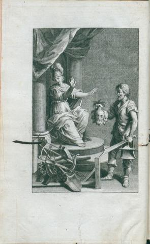Allegory of Justice refusing to receive some heads from the hand of a man with a sword, illustration from C. Beccaria