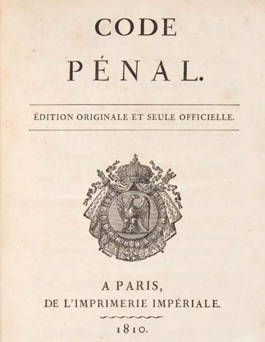 Title page of the original edition of the Napoleonic code of 1810