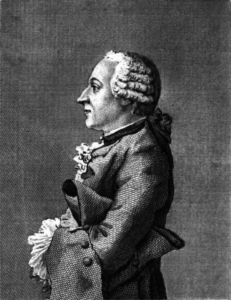 Friedrich Melchior Grimm, gravure de Lecerf, dessin de Carmontelle, 1769.