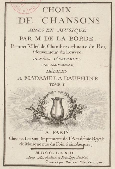 Title Page from Jean-Benjamin de Laborde, 'Choix de Chansons', 1773.