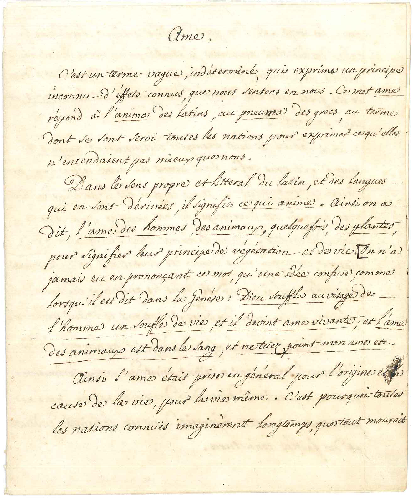A manuscript of one of the texts in this volume (article 'Ame', in the hand of Voltaire's secretary, Wagnière). Bibliothèque de Genève, Musée Voltaire: MS 34/1, f.1.