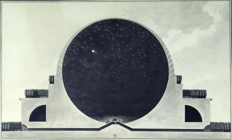 Cross-section of a 'Newton cenotaph' by Etienne-Louis Boullée. Source: gallica.bnf.fr / Bibliothèque nationale de France
