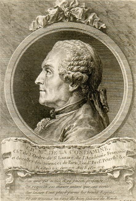 Charles Marie de La Condamine, by Charles Nicolas Cochin (artist) and Pierre Philippe Choffard (engraver), 1768. Image Wikimedia Commons.