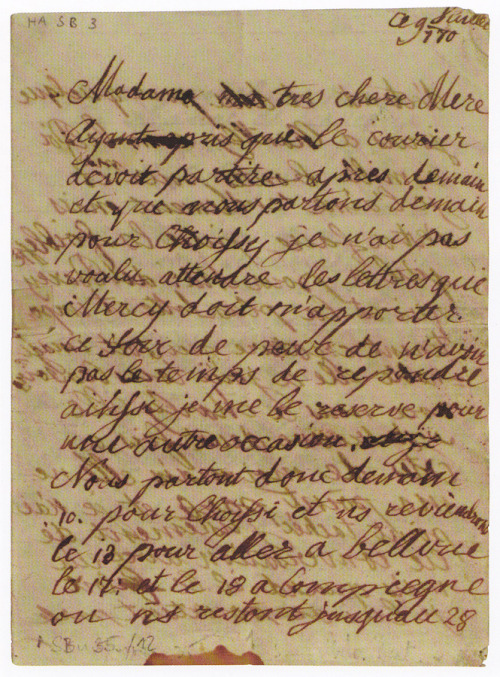 Letter by Marie-Antoinette to her mother Maria Theresa, 9 July 1770.