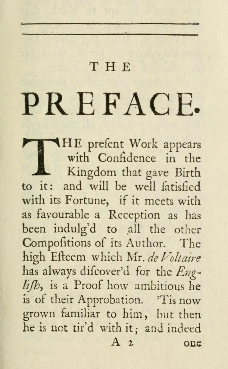 First page of the preface to the Letters concerning the English nation (London, 1733), the first edition of Voltaire's text to be published.