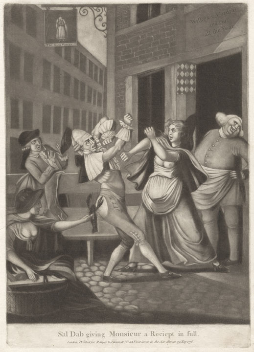 'Sal Dab giving Monsieur a receipt in full', 1776. Courtesy of Yale Centre for British Art. Variations on this same illustration – a Frenchmen having a fistfight with a fishwife in Billingsgate – are known from the 1750s. For a male version, see the illustration 'The Frenchman in London', 1770, in the Horace Walpole Library: http://images.library.yale.edu/walpoleweb/oneitem.asp?imageId=lwlpr02995 It is not known whether the illustrations are based on an actual event.