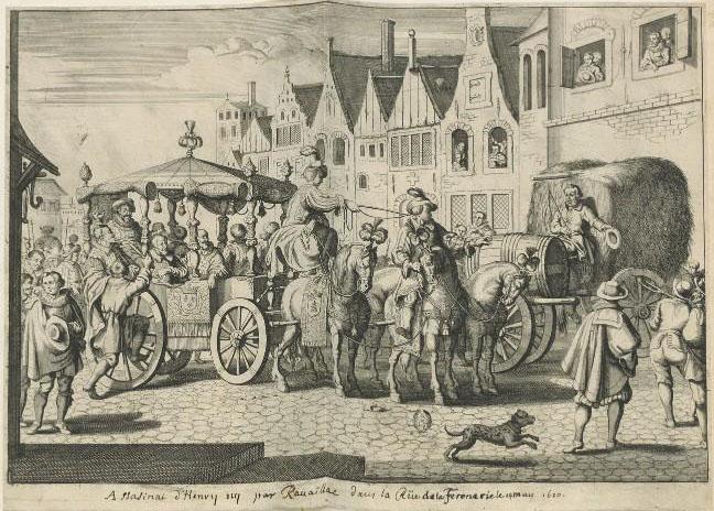The murder of Henri IV by Ravaillac in the Rue de la Ferronerie on 14 May 1610. Source: Gallica.bnf.fr / Bibliothèque nationale de France, département Arsenal, EST-368 (70)