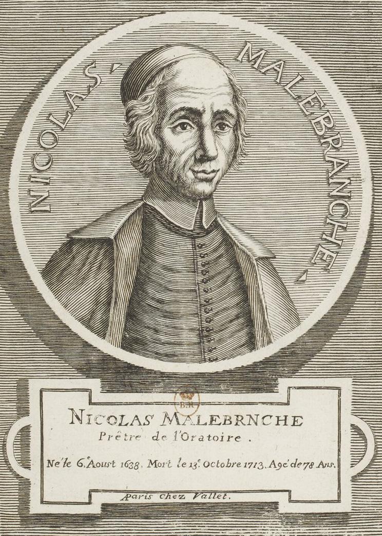 Nicolas Malebranche. Portrait tiré de Palais de la sagesse (Paris, J. Vallet, 1713). BnF.