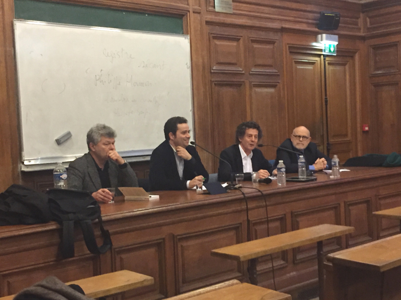 De g. à d.: Pierre Jourde, Guillaume Métayer, Hédi Kaddour et Pierre Frantz.