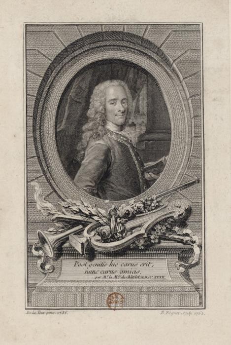 Portrait de Voltaire, en buste, de 3/4 dirigé à droite dans une bordure ovale, par Etienne Fiquet. [1762] / Image BnF.