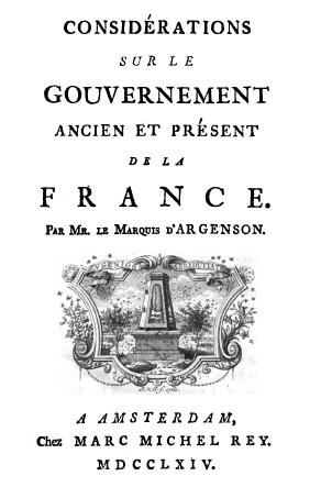 La page de titre des Considérations sur le gouvernement du marquis d'Argenson (1764)