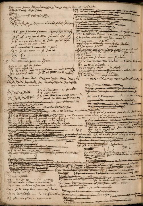 div: Page de corrections de La Nouvelle Héloïse de la main de J.-J. Rousseau
