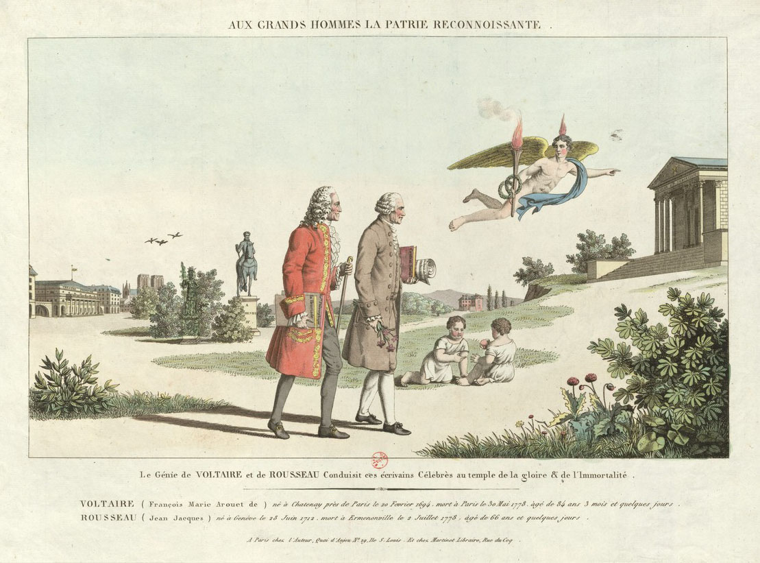 Voltaire and Rousseau reconciled at last, according to this print (Gallica)