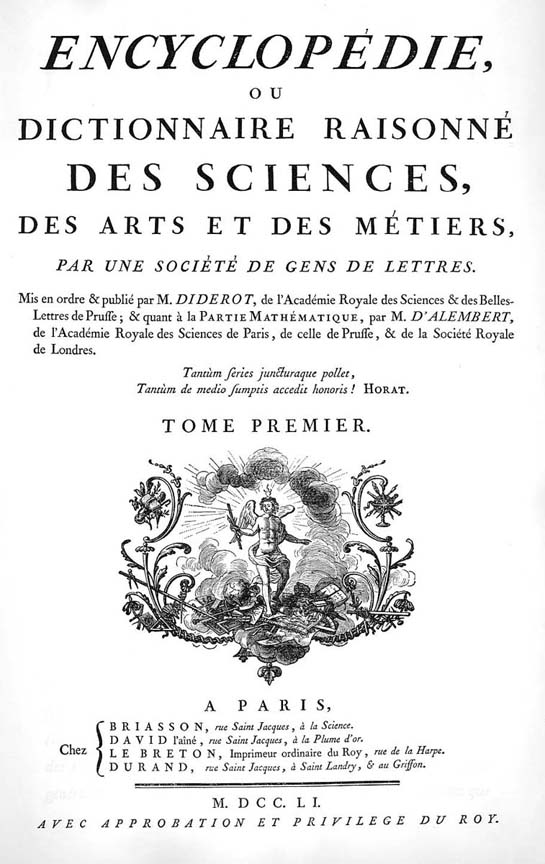 Title page of the Encyclopédie (1751). (Encyclopedie.uchicago.edu)