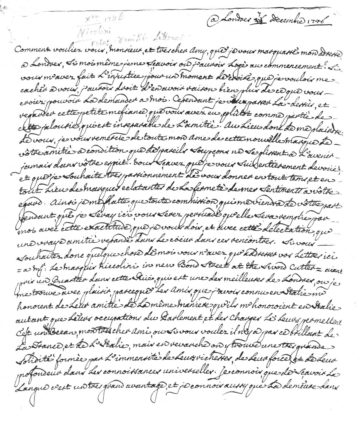 Fac-similé d'une lettre de l'abbé Niccolini au président de Brosses (lettre du 7 décembre 1746).