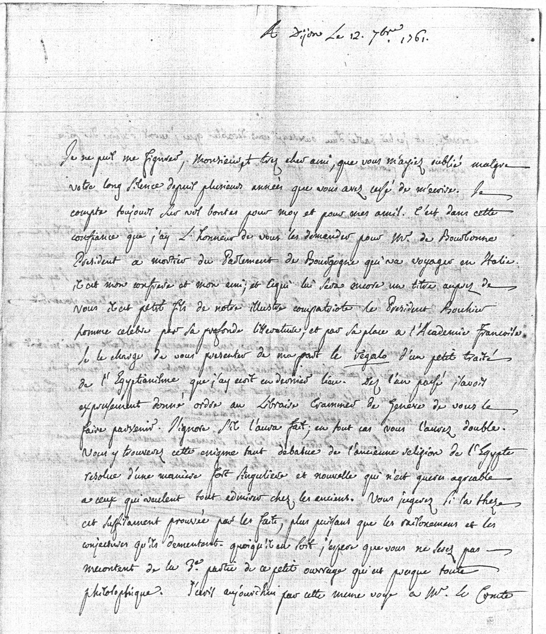 Fac-similé d'une lettre du président de Brosses à l'abbé Niccolini (lettre du 12 septembre 1761).
