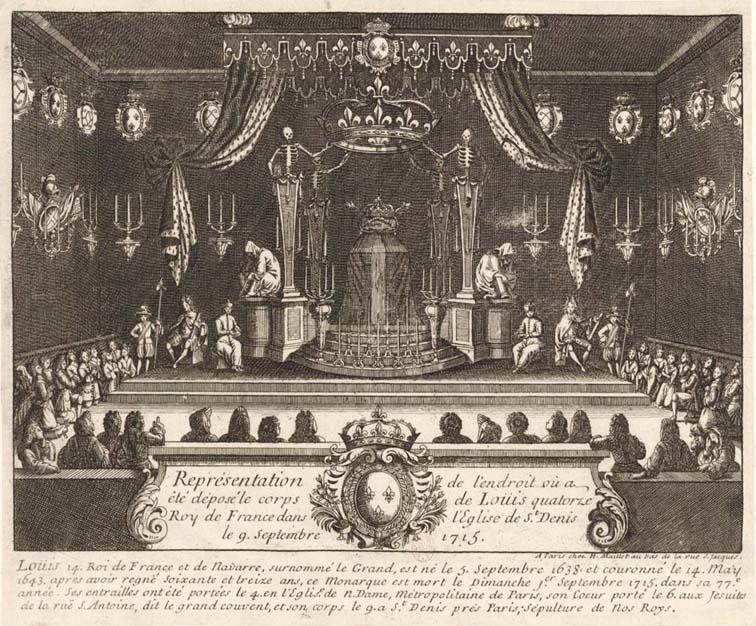 Représentation de l'endroit où a été déposé le corps de Louis quatorze roy de France dans l'église de S.t Denis (BnF).