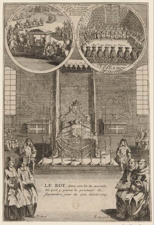 Le Roy dans son lit de parade tel qu'il y parut le premier de septembre jour de son decès 1715 (BnF).