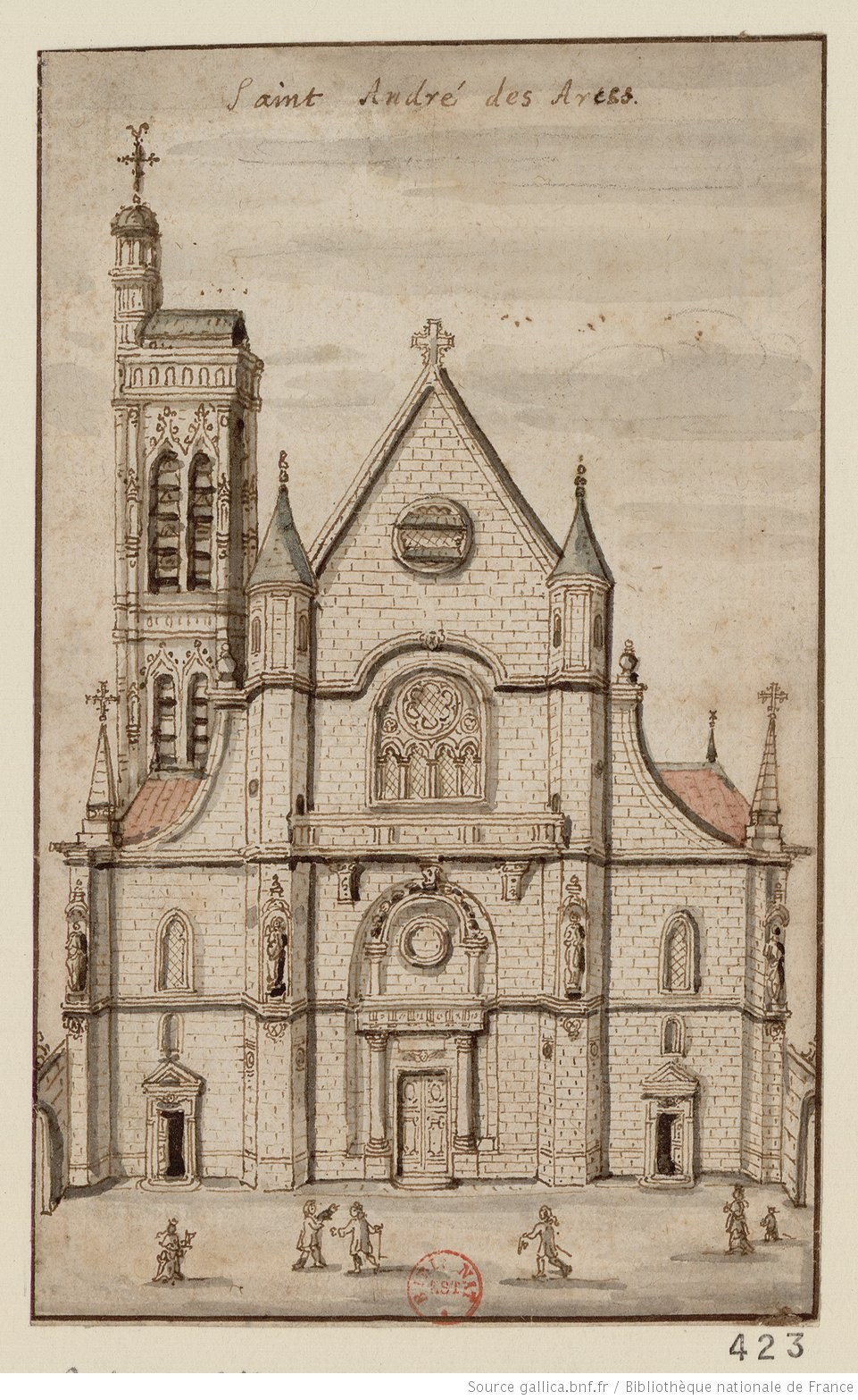 A seventeenth-century drawing of the Church of Saint-André-des-Arts where Voltaire was christened in November 1694. The church was demolished in the nineteenth century. Source: http://gallica.bnf.fr/ark:/12148/btv1b103027821/f1.item.r=église%20saint%20andré%20des%20arts