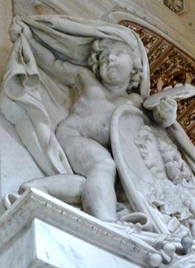 Nicolas Vleughels funerary stele (detail).