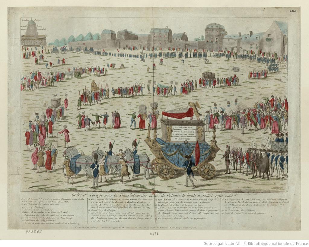 Ordre du Cortege pour la Translation des Manes de Voltaire le lu