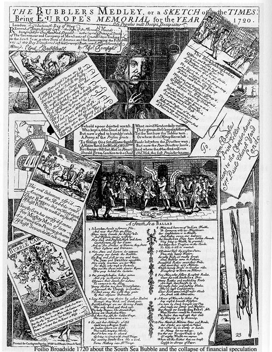 Folio broadside of 1720 about the South Sea Bubble and the collapse of financial speculation