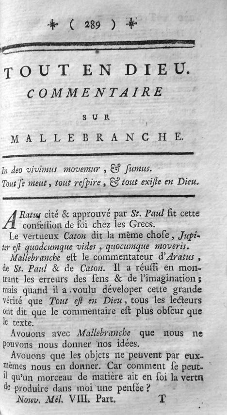 Première page de Tout en Dieu dans Voltaire, Nouveaux Mélanges philosophiques, historiques, critiques, tome 8 (1769). Image Voltaire Foundation.