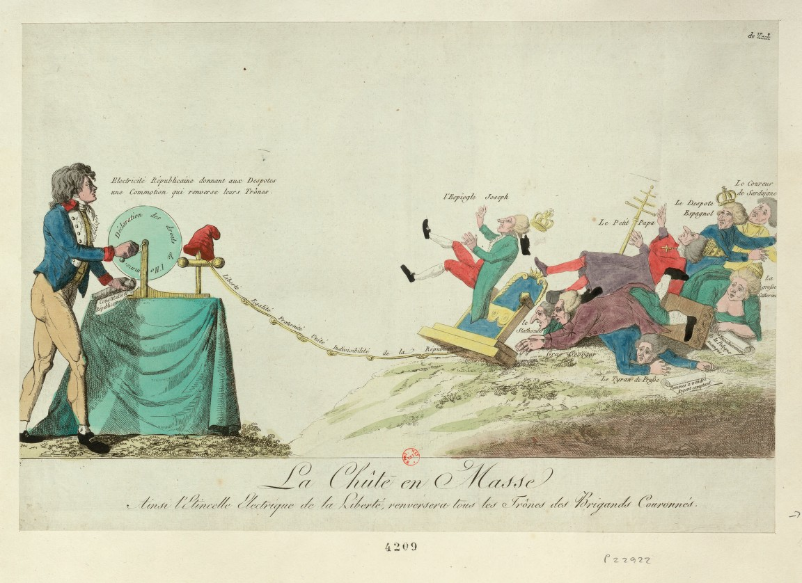 Chûte en masse: ainsi l'étincelle electrique de la liberté, renversera tous les trônes des brigands couronnés (François Marie Isidore Queverdo).