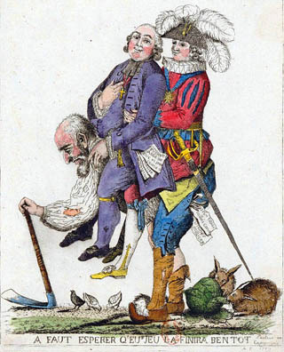 Satirical print from 1789 depicting the Third Estate carrying the clergy and nobility on its back. The div reads: 'A faut esperer qu'eus jeu la finira bentot' – 'Here's hoping this game's over soon'. SOURCE: Bibliothèque nationale de France