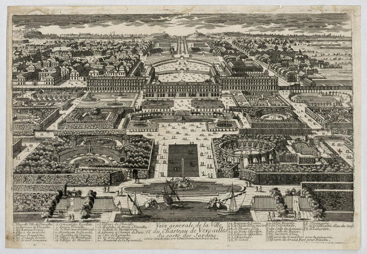 Pierre Aveline l'ancien (1656-1722), Vue générale de la ville et du château de Versailles, du côté des jardins, château de Versailles, INV.GRAV 92. © Château de Versailles