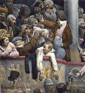 Detail from Spectacle Gratis – G. Engelman (source: http://www.vam.ac.uk/content/articles/a/a-history-of-a-night-at-the-theatre/)