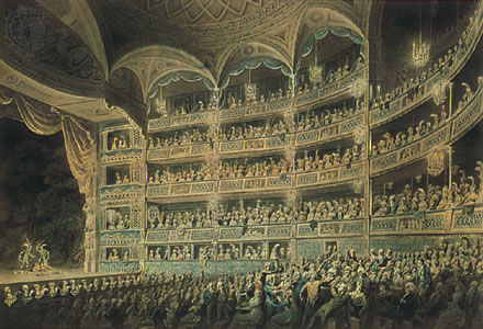 Drury Lane Theatre, London – watercolour by Edward Dayes (1795) (source: http://www.britannica.com/topic/Drury-Lane-Theatre/images-videos/drury-lane-theatre-london-the/5296)