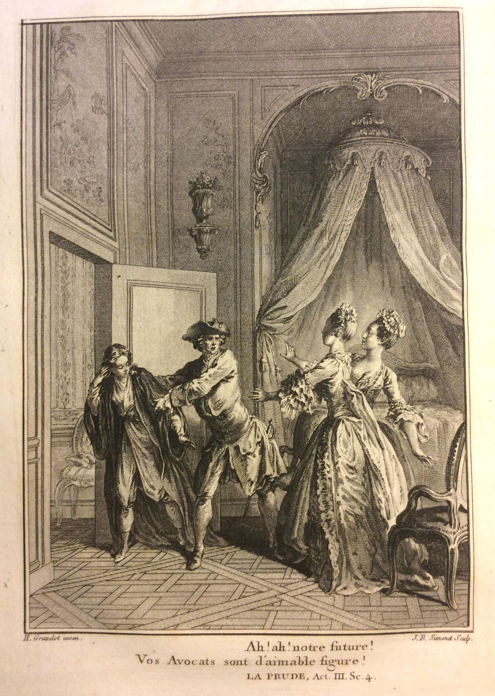 Adine dressed as a Greek boy in La Prude, in Collection complète des œuvres de M.de Voltaire, 1768.
